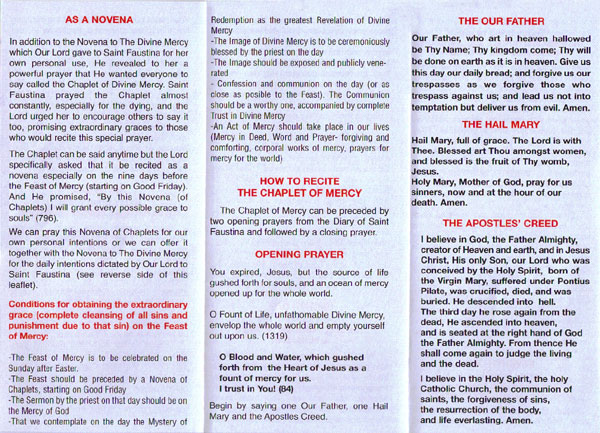 Divine Mercy Novena Pamphlet Pdf