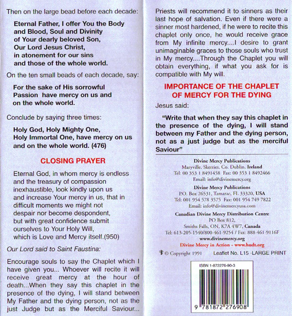 Leaflets: Novena and Chaplet Leaflet