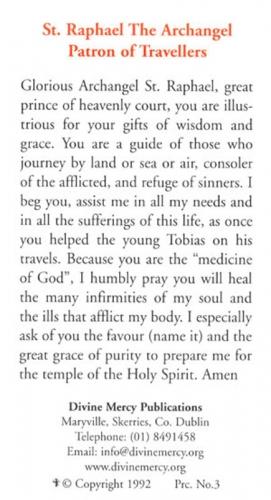 Prayer Cards: St  Raphael the Archangel