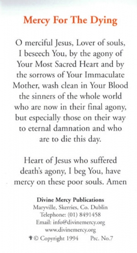 Prayer Cards: Mercy for the Dying